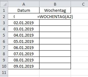 im Excel Wochentag aus Datum generieren - Variante 1