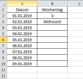 Ergebnis Excel Wochentag aus Datum