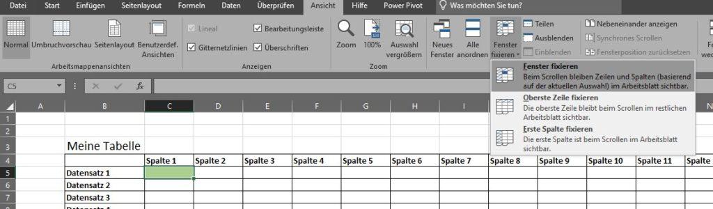 Excel mehrere Zeilen fixieren