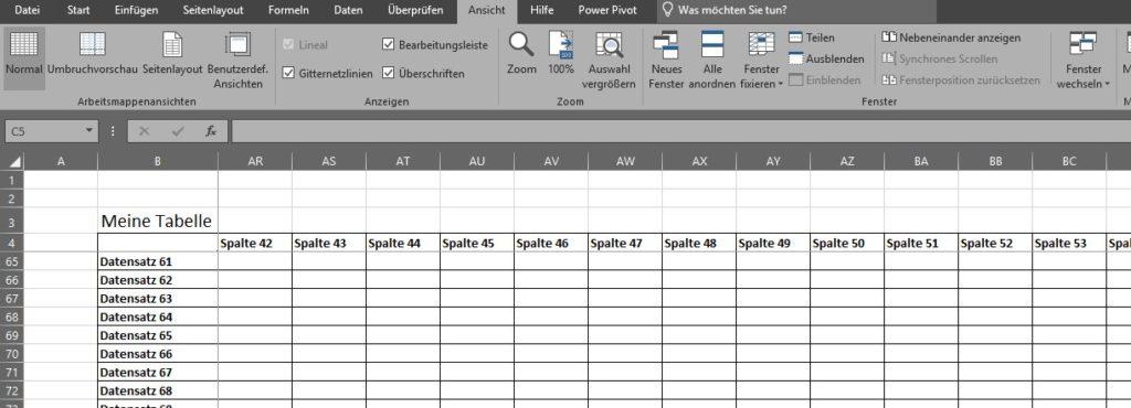 Excel Fixierung nach dem Scrollen