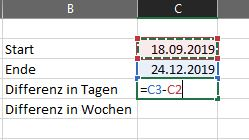 Datum Differenz Excel