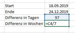 Datum-Differenz-Wochen-Excel
